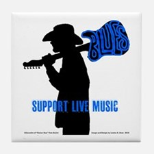 BLUES MAN - SUPPORT LIVE MUSIC Tile Coaster