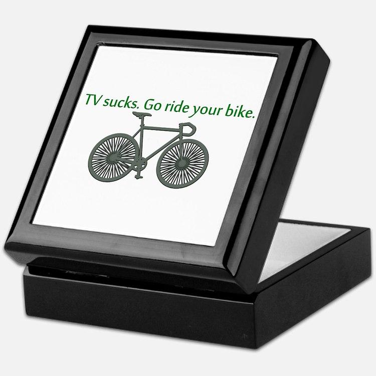 TV Sucks. Go Ride Your Bike! Keepsake Box