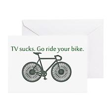 TV Sucks. Go Ride Your Bike! Greeting Cards (Pk of