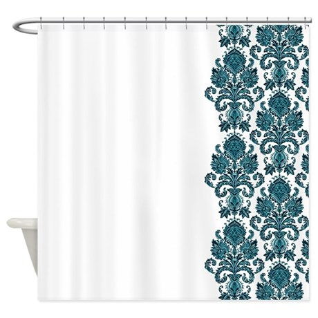 Aqua White Damask Shower Curtain By PrintedLittleTreasures