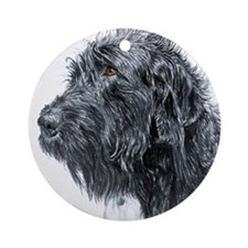 Black Labradoodle 4 Ornament (Round)
