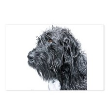 Black Labradoodle 4 Postcards (Package of 8)