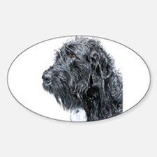 Black Labradoodle 4 Sticker (Oval)