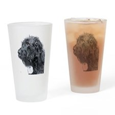 Black Labradoodle 4 Drinking Glass