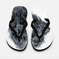 Black Labradoodle 4 Flip Flops