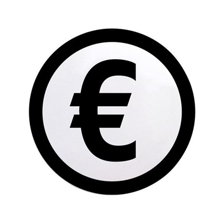 "Euro symbol 3.5"" Button (100 pack)"