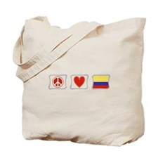 Peace, Love and Colombia Tote Bag