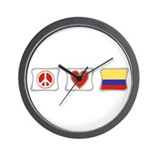 Peace, Love and Colombia Wall Clock