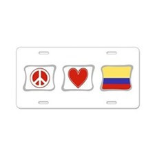 Peace, Love and Colombia Aluminum License Plate