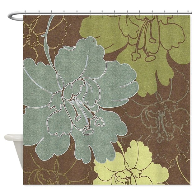 Blue Brown Hibiscus Shower Curtain by