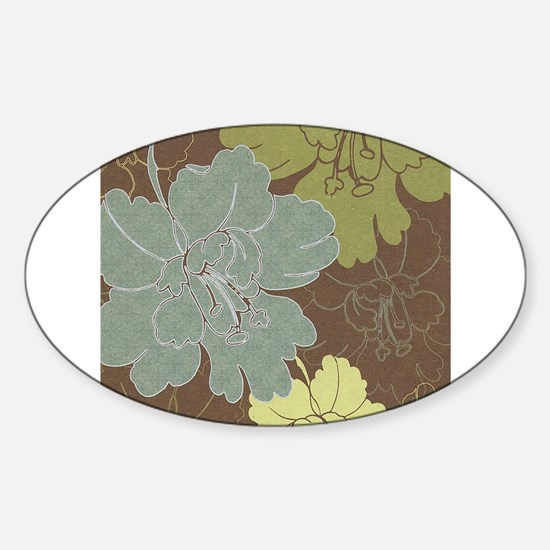 Blue Brown Hibiscus.jpg Sticker (Oval)