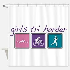 Girls Tri Harder Shower Curtain