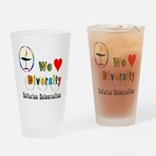 UU We Love Diversity.png Drinking Glass