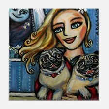 pug momma love Tile Coaster