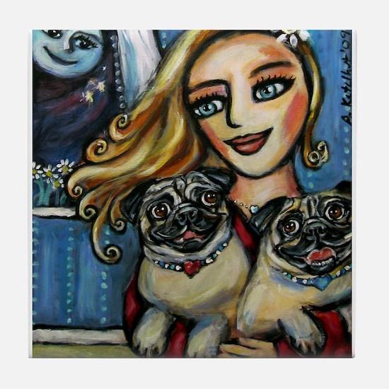 pug momma love Tile Coaster