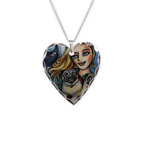 pug momma love Necklace Heart Charm