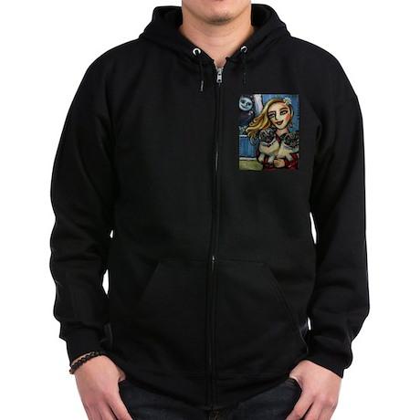 pug momma love Zip Hoodie (dark)