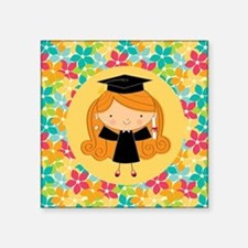"Graduate Girl Flowered Gift Square Sticker 3"" x 3"""
