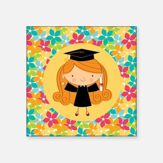 "Graduate Girl Flowered Gift Square Sticker 3"" x 3"""