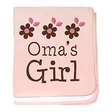 Oma's Girl Daisies baby blanket