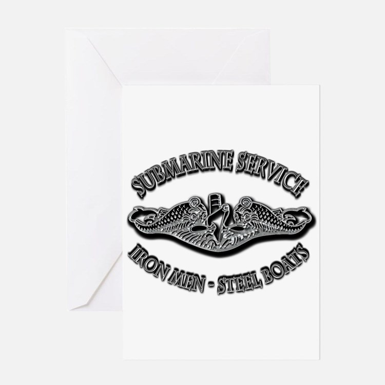 USN Submarine Service Dolphins Greeting Card