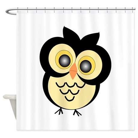 Black And Gold Owl Shower Curtain