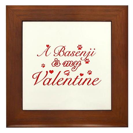 A Basenji is my valentines Framed Tile