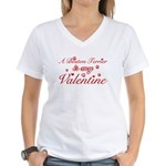 A Boston Terrier is my valentines Women's V-Neck T
