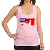 Canadian american flag Womens Racerback Tanktop