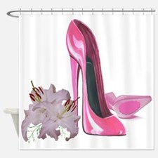 Pink Stiletto Shoes and Lilies Shower Curtain