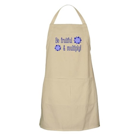 Be fruitful and multiply! blue design Apron