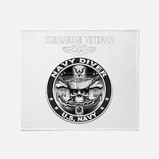 USN Navy Diver Sub Vet.png Throw Blanket
