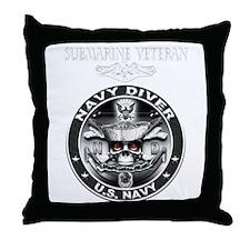 USN Navy Diver Sub Vet.png Throw Pillow