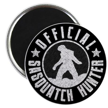 "Sasquatch Hunter - White on Black 2.25"" Magnet (10"