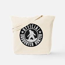 Sasquatch Hunter - White on Black Tote Bag