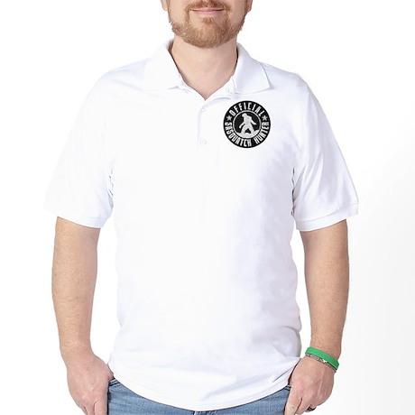 Sasquatch Hunter - White on Black Golf Shirt