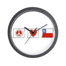 Peace, Love and Chile Wall Clock