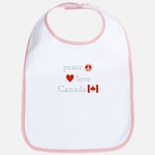 Peace, Love and Canada Bib