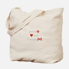 Peace, Love and Canada Tote Bag