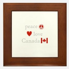 Peace, Love and Canada Framed Tile