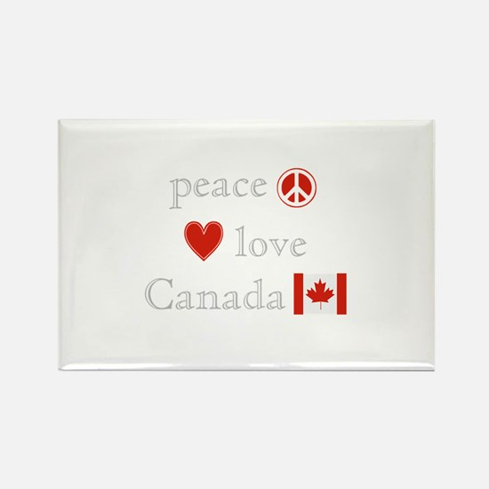 Peace, Love and Canada Rectangle Magnet