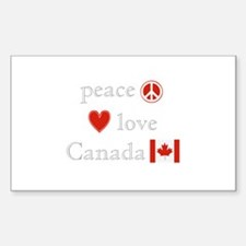 Peace, Love and Canada Decal