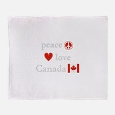 Peace, Love and Canada Throw Blanket