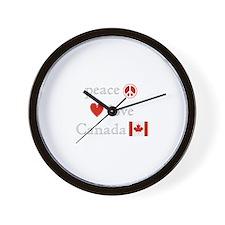 Peace, Love and Canada Wall Clock