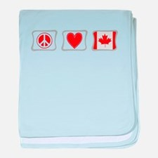 Peace, Love and Canada baby blanket