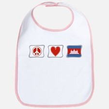 Peace, Love and Cambodia Bib