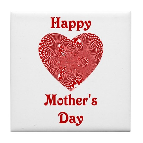 Happy Mothers Day Heart Tile Coaster