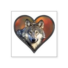 "Wolf Heart Square Sticker 3"" x 3"""