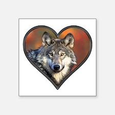 "Wolf Heart Square Sticker 3"" x 3"""