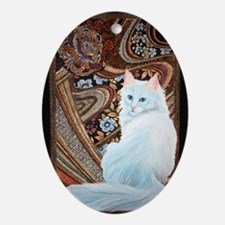 White Turkish Angora Ornament (Oval)
